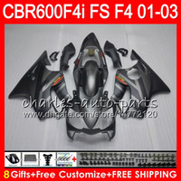 black Silver 8Gifts 23Colors For HONDA CBR 600 F4i 01- 03 CBR...
