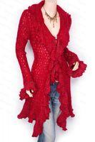 Otoño Invierno de calidad superior para mujer moda cardigan suéter cardigan abrigo suéter prendas de punto vestido falbala tejer cardigan suéter abrigo