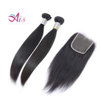 Gerade Haarwege mit Schließung 2 Bündel mit 4 * 4 Spitzenverschluss Brasilianische peruanische jungfristige menschliche Haar-Weave-Erweiterungen