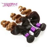 Lâche Vague Cheveux Humains Bundels Ombre Cheveux Trame 1B-30 # Couleur Lâche Vague Double Trame Cheveux Vierges Brésiliens Couleur Naturel Faisceaux Bundles