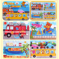 100 sets (with Iron Box) 4 pictures Wooden Puzzle Cartoon 3D...