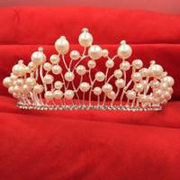 Recién llegado de perlas de cristal tiaras coronas de lujo accesorios de la boda tocado nupcial joyería del pelo Headwear princesa joyería 2017
