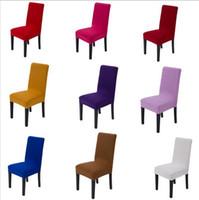20 Colores sólidos Poliéster Spandex Cubiertas para sillas para la silla para la silla de la fiesta de boda Cubiertas de asiento de la silla de comedor marrón C175