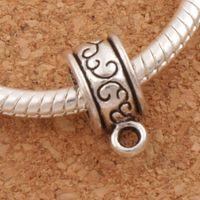 Connecteurs de fleurs rondes pendentif Bails Big Hole Beads 200pcs / lot Antique Silver Fit Charm Bracelet européen L736 12.9x6mm