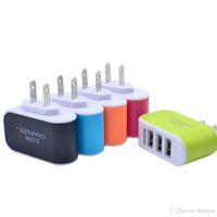 Стены зарядное устройство путешествия адаптер для Iphone 6S плюс красочные Главная Plug LED USB зарядное устройство для Samsung S6 3 порта usb зарядное устройство Бесплатная доставка