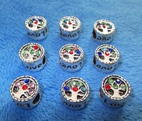 Senaste Kärlek Familjbrev med CZ Silver Plate Big Hole Pärlor Charms Passande European Charm Bracelet Smycken DIY Creative Tillbehör