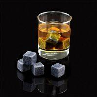 180PCS / 20set عالية الجودة الأحجار الطبيعية 9PCS / مجموعة تخزين الحقيبة ويسكي احجار تبريد الصخرة الحجر الأملس مكعبات الثلج مع المخملية 2054