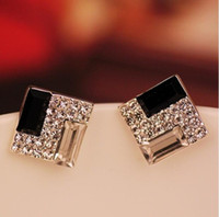 Fashion wild OL elegant black and white square crystal stud ...