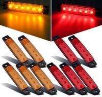 10 pezzi 3,8 pollici 6 LED Ambra Segnali laterali a LED, Luci per rimorchi, Camion, Luci di posizione, Luce di posizione laterale posteriore, Luci di segnalazione a led per rimorchi, RV