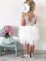 2017 малышей цветочные платья для девочек на свадьбу прекрасный кружева тюль многоуровневая пачка длиной до колен маленькие девочки Принцесса детские театрализованное платья