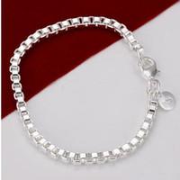 Livraison gratuite 925 Sterling argent 14g bracelets 4mm boîte bracelet bijoux mode