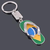 Portachiavi in lega di zinco a forma di pantofola in lega di zinco con bandiera brasiliana portachiavi in metallo portachiavi portachiavi regalo