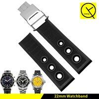 Watchband 22 ملليمتر 24 ملليمتر الأسود الأزرق الغوص سيليكون المطاط حزام حزام الفضة المشبك الفولاذ المقاوم للصدأ ل بريتلينغ ووتش الرجل