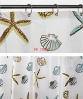 Wholesale  PEVA Bathroom Shower Curtains Water Proof Thickening Bath Curtain  Starfish Pattern