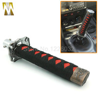 Universal JDM 150 MM Corto Samurai Sword Shift Perilla Shifter Metal Weighted Sport Katana Perilla Shift Con 4 Adaptador Negro + Rojo