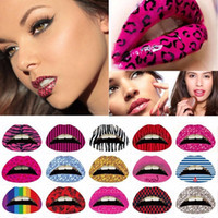 Новые временные губы татуировки наклейки помады искусства передачи много конструкций красочные фантазии платье партии макияж губ