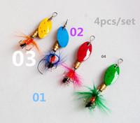 Wholesale Spinner Spinner Cuillère en métal Pêche Leur de pêche hard paillettes avec plumes de pêche artificielle appâts de pesca crochets