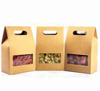 10x15cm Kraft Paper Food Packaging Bag with Window and Handl...