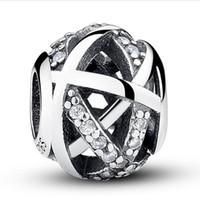 Reale 100% 925 Sterling Silver Hollow Clear Rhinestone Galactic Luck Charm Bead Fit Braccialetto europeo autentico lusso gioielli fai da te regalo