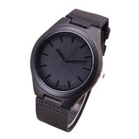 2017 Fashion Black Wood Watches With Real Leather Band Men&#...