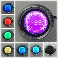"""SIYAH 2 """"(52mm) LCD Dijital 7 Renk Ekran Boost Turbo Ölçer Turbo Sensörü Ile 30-35psi / OTOMATIK GAUGE"""