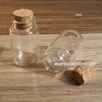 30 x 20ml clear glass bottle with wooden cork, empty sample ...