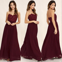 Sweetheart Lace Chiffon Burgundy Long Bridesmaid Dresses 201...