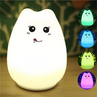NEW LED USB Rechargeable Cute Cat Night Light Colorful Silic...