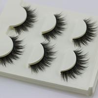 3D pestañas postizas 3 pares / set desordenado cruz gruesa pestañas naturales falsas consejos de maquillaje profesional patudo largas pestañas postizas