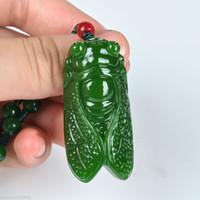 Collar chino tallado a mano 100% natural de nefrita verde jade cigarra
