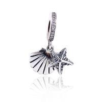 2017 Collection D'été Fit Pandora Charmes Bracelet Authentique 925 Sterling Argent Cubique Zircone Starfish Charmes Perle DIY Mode Bijoux