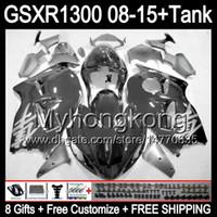 Gloss Black 8gifts لسوزوكي Hayabusa GSXR1300 08 15 GSXR-1300 14MY154 GSXR 1300 GSX R1300 08 09 10 11 12 13 14 15 Fairing Glossy Black Kit