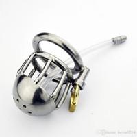 Cateteri Suoni Cintura di castità maschile Gabbia in acciaio per gabbia in acciaio Super Small Cage con catetere uretrale Giocattoli erotici per uomini G138