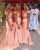 ASO EBI Coral Scepined Satin Bellanaija платья подружки невесты русалка с плеча дешевые платья платья плюс размер нигерийские свадебные платья