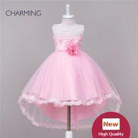 Дизайнерские платья вечернего платья из говядины Платья с рисунком из розового паттерна Рубашка с круглой шеей Короткие передние длинные кружевные трикотажные ткани из органзы