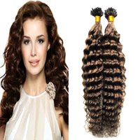 # 6 Médio Brown extensão de cabelo de queratina 100g / extensões de fios queratina U Extensões de Cabelo Profunda Encaracolado Extensões de Cabelo Humano