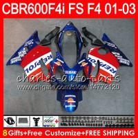 8Datos 23Colores Para HONDA CBR600FS FS CBR 600 F4i 01-03 28NO54 Azul Repsol CBR600 F4i CBR 600F4i CBR600F4i 2001 2002 2003 01 02 03 Carenado