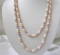 "LONG 36 ""7-8mm本物の自然な白ピンク紫明日耕作真珠のネックレス"