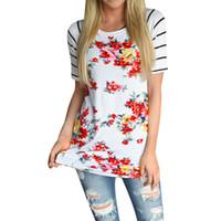 Venta al por mayor- Feitong 2017 nuevas mujeres del verano camisetas casuales de manga corta Tops flor impresa camiseta a rayas vetement femme poleras de mujer