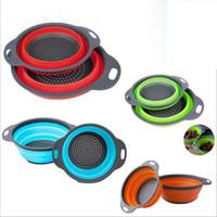 2 unids / set colador de silicona plegable colador de malla plegable colador de frutas y verduras cocina casera accesorios herramienta
