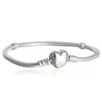 European logo paved heart shape clasp with letter logo engra...