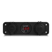 المزدوج USB دراجة نارية سيارة ولاعة السجائر العرض شاحن المقبس السيارات LED الرقمية الفولتميتر 12V الكهربائية الجهد متر
