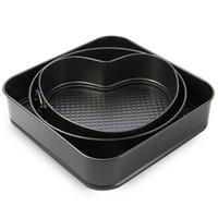3 наборы антипригарное форма для торта кастрюли торт выпекать плесень формы для выпечки круглый сердце квадратной формы кухня аксессуары для выпечки инструменты НБ