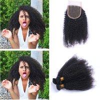브라질 4 * 4 머리 묶음 머리카락을 묶어 자연 색상 인간의 머리 아프고 곱슬 곱슬하게 곱슬 3pcs 곱슬 곱슬하게 짜다 인간의 머리카락과 레이스 클로저