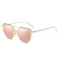 Top Verkauf Sommer-Marken-Designer-Sonnenbrillen Frauen Luxury Cat Eye Brillen Vintage-Twin Beam Coating Reflective Sonnenbrillen Brillen Go Trip