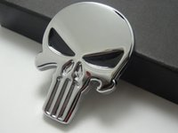 3D Punisher Decal Chrome Car Metal Skull Sticker Car Decals ...