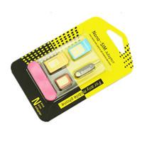 100 pcs adaptador de cartão por atacado-sim para iphone 5 / 5s / 6/7/8 adaptador nano / micro sim 4 em 1 um cartão de recuperação pin