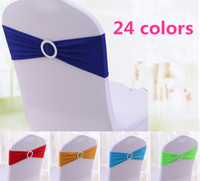 24 colors Spandex Lycra Wedding Chair Cover Sash Bands Weddi...