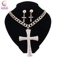 Горячие продажи золото серебро крест Кристалл кулон мода элегантный комплект ювелирных изделий для женщин Девушки колье ожерелье серьги колье femme
