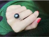 Bague ouverte en argent standard avec perle foncée standard bague réglable en diamant de perle 9-10mm 2 styles peuvent choisir